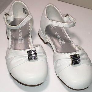 SmartFit Girls New White Dress Shoes Size 8.5